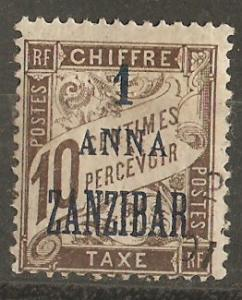 France Off Zanzibar J2 MH Cer TT2 F/VF 1897 SCV $12.00