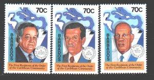 Barbados. 1994. 853-55. Caribbean politicians. MNH.