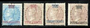 Straits Settlements 1867 Scott 1 - 4 Mint ~ Stamps of India Surcharged