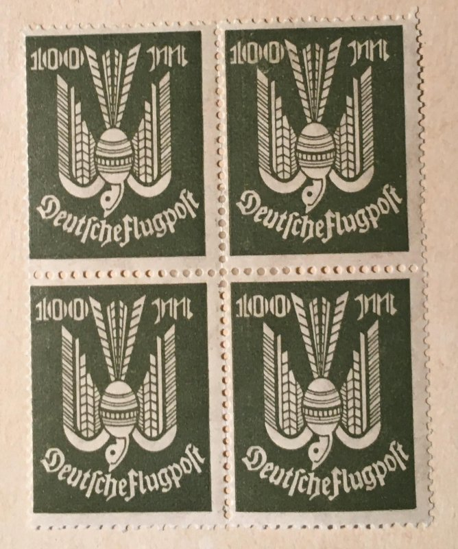 Germany C18, Airmail 100M, mint block hinged, Vic's Stamp Stash