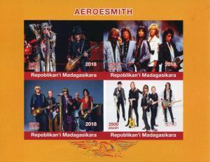 Madagascar 2018 MNH Aerosmith Rock Band 4v IMPF M/S Music Guitars Stamps