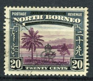 NORTH BORNEO; 1947 Crown Colony issue fine used 20c. value + Postal cancel