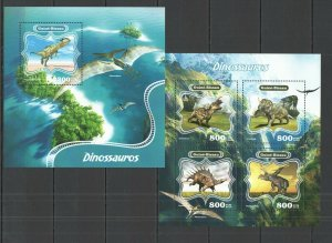 ST1077 2014 GUINEA-BISSAU DINOSAURS  FAUNA ANIMALS KB+BL MNH STAMPS