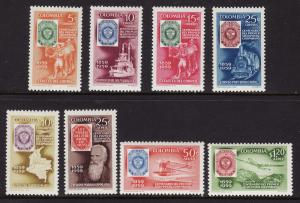 Colombia #709-12, C351-54 F-VF Mint NH ** Stamps on Stamps
