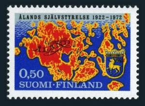 Finland 516,MNH.Michel 704. Provincial Meeting of Aland,50,1972.Map and Arms.