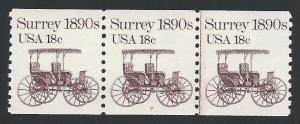 Scott 1907 Pl#7 Strip of 3 with Line, Never Hinged, Origi...