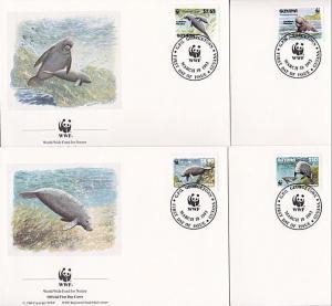 GUYANA 1993 WWF Marine Mammals set of 4 FDCs................................9281