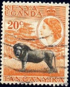 Lion, Kenya, Uganda & Tanzania stamp SC#107 used