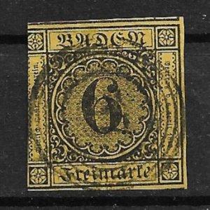 1853 Baden Sc9  6kr used