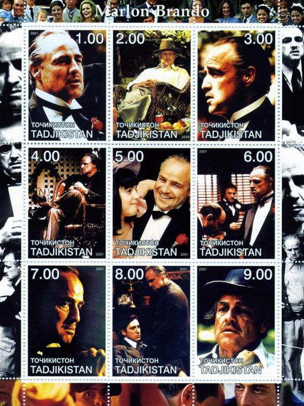 Tadjikistan 2001 Marlon Brando Sheet (9) Perforated mnh.vf