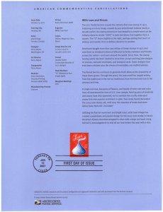 US #SP1632 (4122) Hershey Kiss Love Souvenir Page (4Stars)