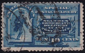 US STAMP BOB #E2 10c Blue Special Delivery 1888 Used perf pulled