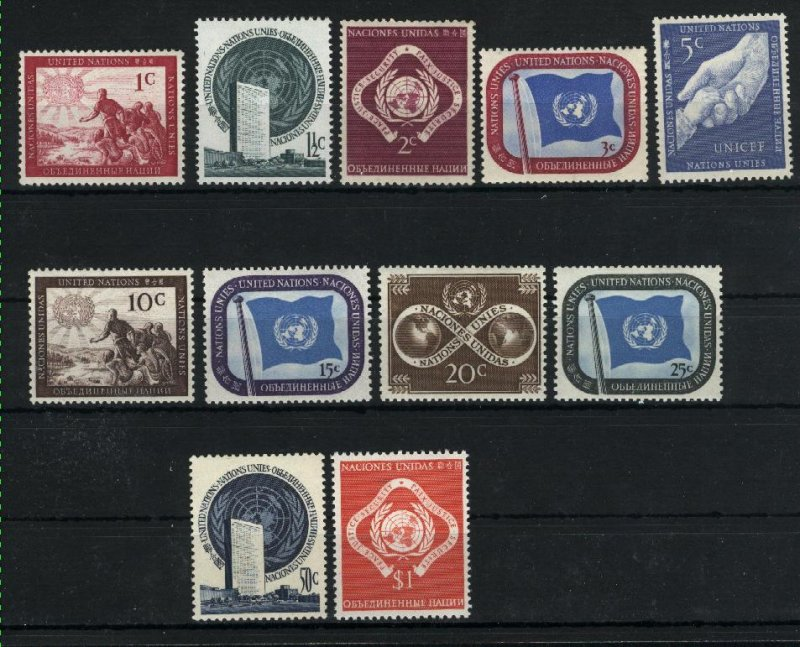 UN New York #1-11   Mint NH VF 1951 PD