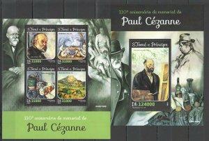 ST1583 2016 S. TOME & PRINCIPE ART PAINTINGS PAUL CEZANNE 1KB+1BL MNH