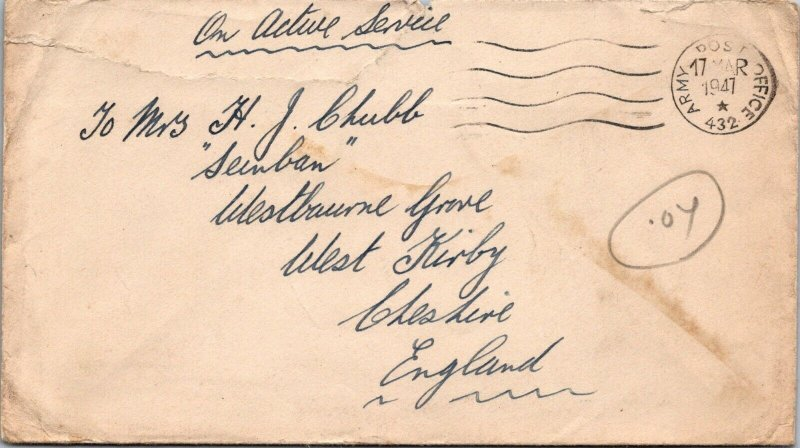 WWII 1947 GB Active Service stampless cover nice star postmark diamond on back