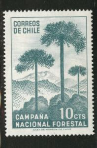 Chile Scott 363 MH* Tree stamp 1967 paper adhesion