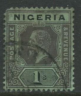 Nigeria -Scott 8 - KGV Definitive - 1914 - Used - Single 1/- Stamp