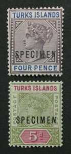 MOMEN: TURKS ISLANDS SG #71s-72s 1893-95 SPECIMEN MINT OG H LOT #191796-679