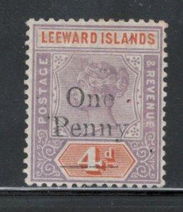 Leeward Islands 1902 Surcharge 1p Scott # 17 MH
