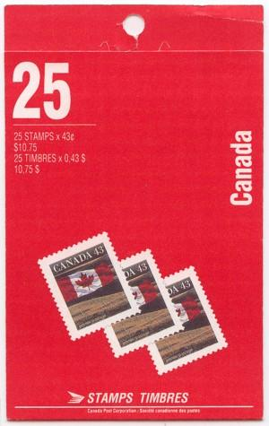 Canada - 43c Flag Pane of 25 Complete Booklet #BK154b