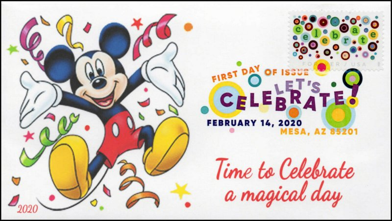20-023, 2020, Let's Celebrate, Digital Color Postmark, FDC, Mickey Mouse