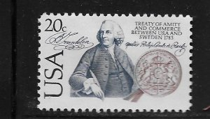 UNITED STATES, 2036, MNH, TREATY BETWEEN USA & SWEDEN 1783