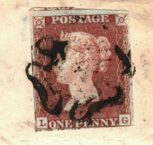 GB SG.7 Cover Penny Red Plate X (LG) 1841 *Mid-Calder* SCOTS MX Cat £325+ CX107