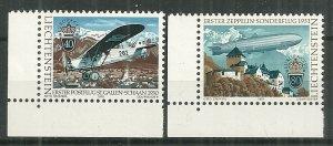 1979 Liechtenstein 663-4 1st Airmail & 1st Zeppelin Flight to Liechtenstein MNH