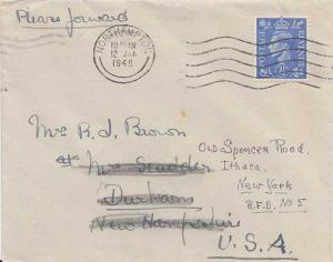 Great Britain 2 1/2d KGVI 1948 Northampton to Durham, N.H. Forwarded to Ithac...