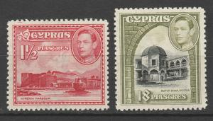 CYPRUS 1938 KGVI PICTORIAL 11/2 PI AND 18PI