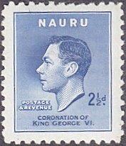 Nauru # 39 hinged ~ 2½p George VI