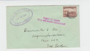 SOUTH WEST AFRICA -EAST LONDON 1943 CENSOR COVER,  1½d RATE (SEE BELOW