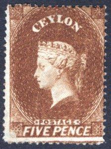 Ceylon 1861 5d Chestnut (Scott Org Brn) SG 22 Scott 20 LMM/MLH Cat £120($156)