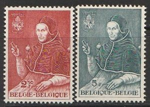 1959 Belgium - Sc 534-5 - MNH VF - 2 singles - Pope Adrian VI by Jan van Scorel
