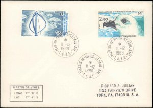French Southern and Antarctic Terr., Worldwide First Day Cover, Polar, Birds