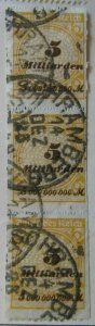 A6P46F332 Germany 1923 5mlrd m Roulette strip of three used