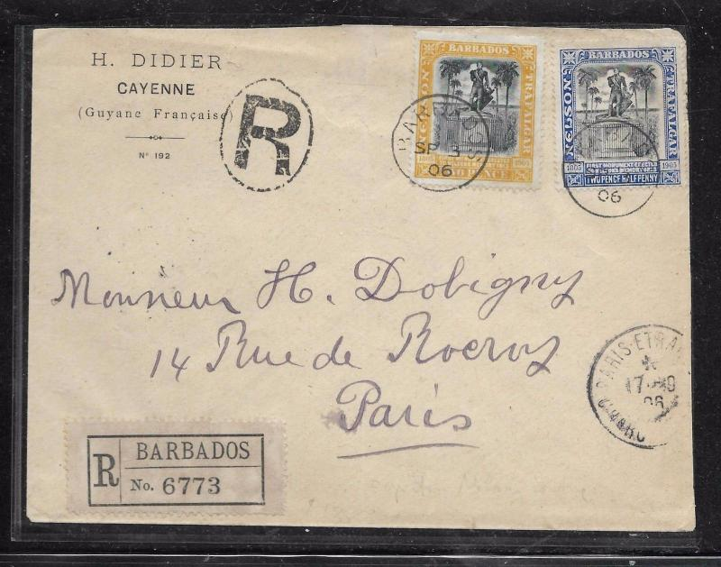 BARBADOS (P1201BB) 1906 NELSON 2D+2 1/2D REG COVER TO FRANCE