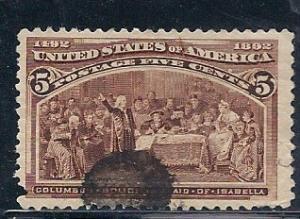 US#234 5c Columbian (U) CV $9.50