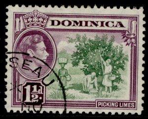 DOMINICA GVI SG101, 1½d green & purple, FINE USED. CDS
