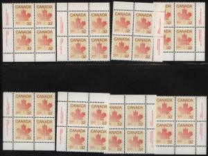 Canada USC #924 & 924i Mint Plate 1 & 2 MS VF-NH 32c Maple Leaf Definitive.