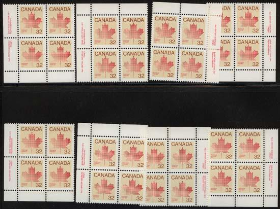 Canada USC #924 & 924i Mint Plate 1 & 2 MS VF-NH 32c Maple Leaf Definitive.