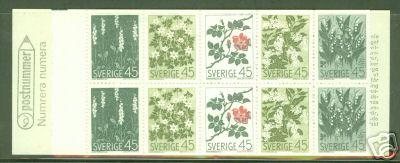 SWEDEN Stamp Booklet Scott 786a CV$11 Nordic Flowers