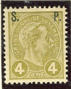 LUXEMBOURG; 1898 early Adolf OFFICIAL ' S.P. ' Optd issue Mint hinged 4c.