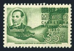 Mexico C200 block/4,MNH.Mi 995. President Aleman,bridging,map,1950.