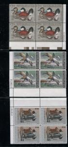 FEDERAL DUCK STAMP LOT RW39- 68 VF, NH 30 PLATE BLOCKS! $1,320 FACE VALUE - D120