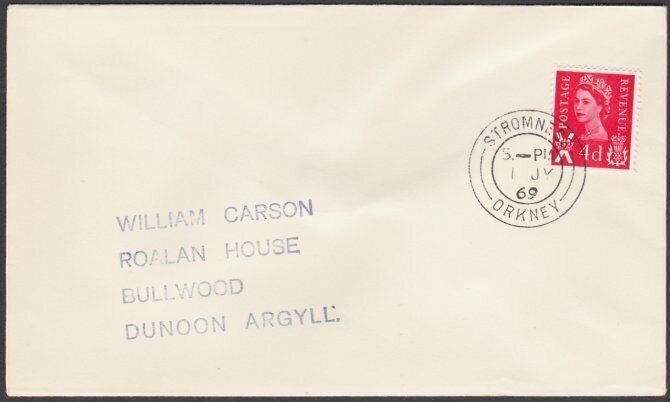 GB SCOTLAND 1969 cover STROMNESS / ORKNEY cds...............................T208