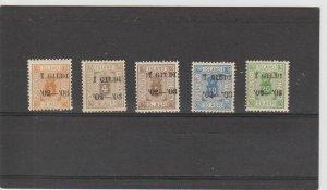 Iceland  Scott#  O20-O24  MH  (1902-3 Overprint)