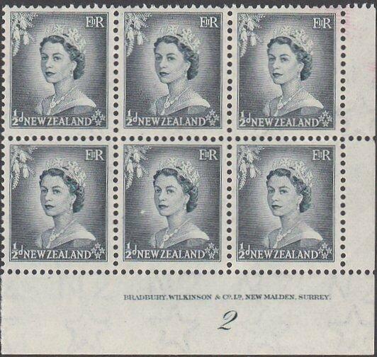 NEW ZEALAND 1953 ½d  plate block # 2 mint...................................1611