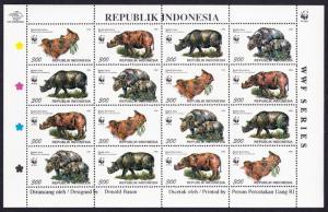 Indonesia WWF Javan and Sumatran Rhinoceros Sheetlet of 4 sets SG#2267-2270