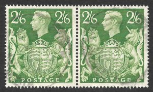 Doyle's_Stamps: Used 1942 British Pair 2-Shilling, 6-Pence KGVI Scott  #249A